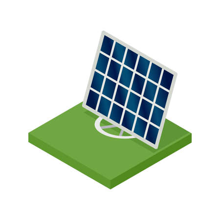 Isometric solar panel. Concept of clean energy. Clean ecological power. Eco renewable electric energy from sun. Icon for web