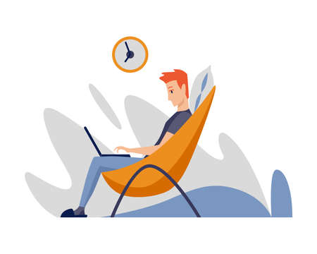 Freelance man working at home in comfortable conditions. Cartoon character work from home. Spend time at home during quarantine. Be safe