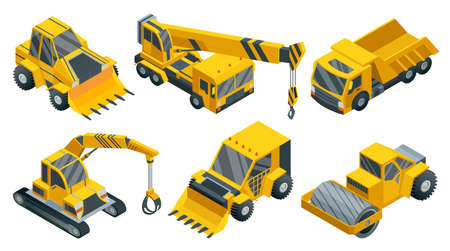 Construction machinery isometric set. Heavy transportation. Icons collection representing heavy mining and road industry. Career and construction transport 矢量图像