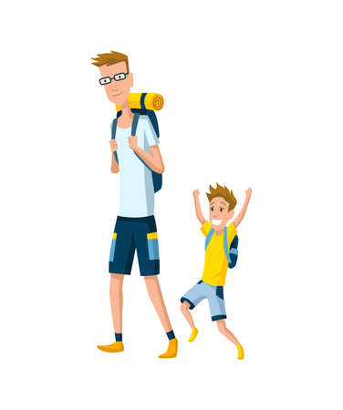 Father spend time with son. Dad and son go hiking with backpacks, happy family concept. Fatherhood flat cartoon vector illustration. Outdoor activity