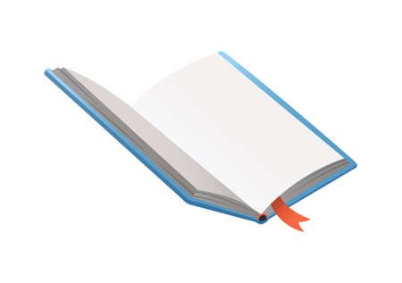Vector book with bookmark. Learning or education concept. Design of empty book or notebook. Isolated symbol on a white background