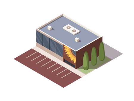 Isometric supermarket or grocery store building. Vector isometric icon or infographic element representing mall building with parking lot. 3D shop market for city infrastructure