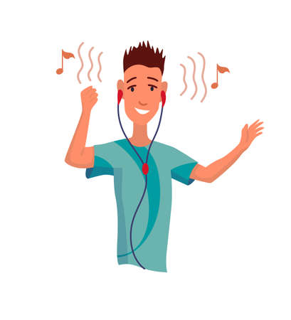 Man listening to music. Hand dancing of cartoon young character with earphone. Joyful people wearing headphone. Using audio player to enjoy sound
