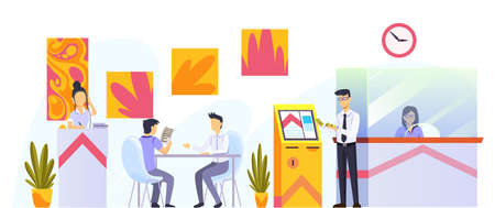 Bank office interior design. Modern financial center with customer, assistant offering personal and business help for clients, inside room view. Banking service, finance manager and client 矢量图像