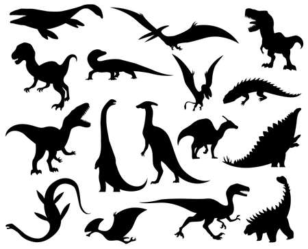 Collection silhouettes of dinosaurs. Dino monsters icons. Prehistoric reptile monsters. Vector illustration isolated on white. Sketch set. Hand drawn dino skeletons