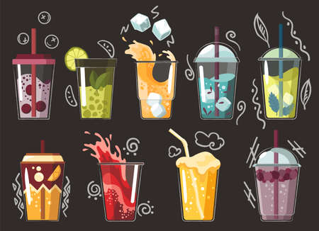 Collection of drawn drink. Various tasty sodas. Summer fruit smoothie drink with fruit flavors. Alcohol cocktails. Doodle smoothie in a jars