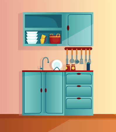 Kitchen interior cartoon vector illustration. Home cooking room with kitchen cabinets. Appliances for home 矢量图像
