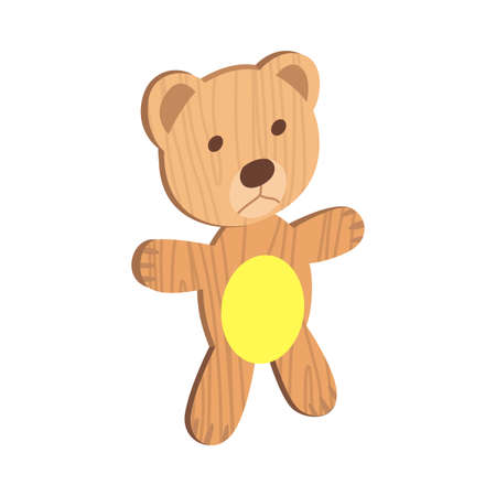 Wooden kid toy. Ecological figure of device for children. Cute bear. Retro cartoon design playing tool for baby. No plastic 矢量图像