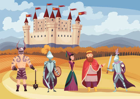 Medieval king and queen, knight in full armor, laydy and warrior on white background. Cartoon middle ages historic period. Medieval kingdom characters standing in costumes