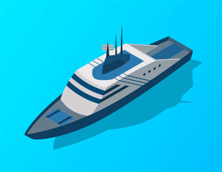 Isometric cruise ship. Passenger transportation by water. Vector isometric icon or infographic element. Ocean transport 矢量图像