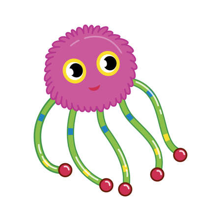 Children toy spider. Kid development and entertainment isolated on white background. Kindergarten tools for kid amusement and play. Bright colored vector icon