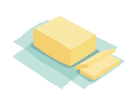 Unpacked piece of butter. Ingredient and cookware for making dough, cookie or croissant. Flat cartoon vector isolated icon