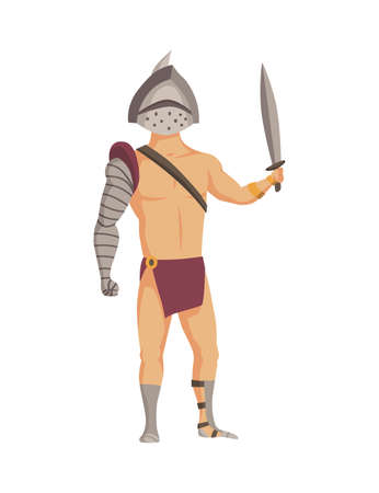 Ancient rome gladiator. Vector roman warrior character in armor with sword. Flat illustration in cartoon style. Militant man ready for battle 矢量图像