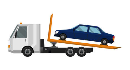 Tow truck. Flat faulty car loaded on a tow truck. Vehicle repair service which provides assistance damaged or salvaged cars