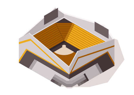 Isometric sport arena exterior. Place for biggest sport competitions. Vector icon or infographic element representing football basketball or hockey stadium building 矢量图像