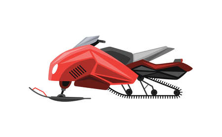 Winter ride on snowmobile. Motor sled, vehicle for extreme travelling on snow and ice, winter recreation. Vector illustration snow motorcycle on white background