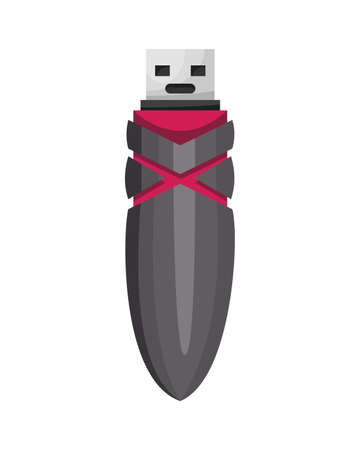 USB flash drive icon. Cartoon symbol. Colored memory stick isolated on white background in flat style 矢量图像