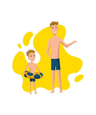 Father spend time with son. Dad and son getting ready to swim in the pool, happy family concept. Fatherhood flat cartoon vector illustration. Outdoor activity