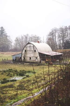 northwest: Old barn building in countryside landscape near the Oregon coast. Winter day setting.