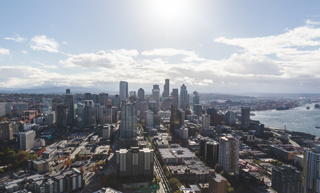 northwest: View from the Space Needle in downtown Seattle, Washington, USA. Sunny summer or fall day. Stock Photo
