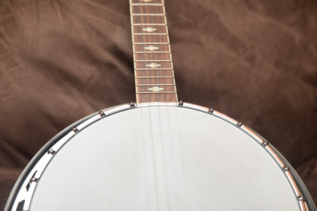Close view of a modern banjo. Detail on neck and body.