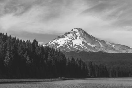 Mount Hood over Trillium Lake in Oregon, USA. Black and white.