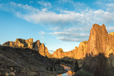 Cloudy blue sky over Smith Rock in central Oregon, USA.