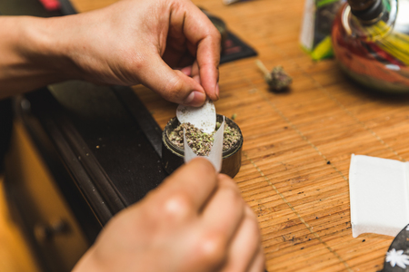 Hands scooping ground cannabis flower into a rolling paperto make a joint.
