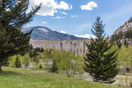Gibson Dam on a spring or summer day in Montana, USA. Stock Photo
