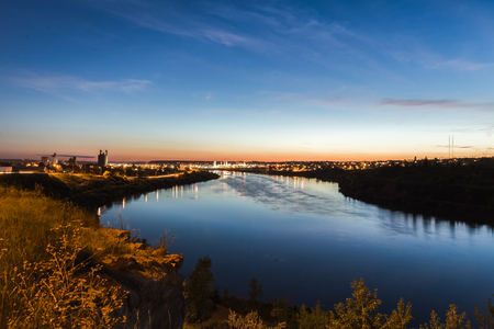 City lights of Great Falls, Montana over the Missouri River.