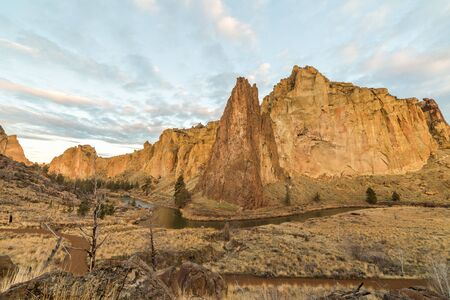 Beautiful sunrise or morning view at Smith Rock State Park in Terrebonne, Oregon, USA.