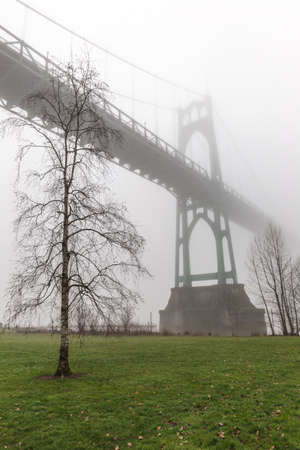 Winter day at St. Johns Bridge in Portland, Oregon. Stock Photo