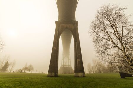Eerie, foggy winter day at Cathedral Park in Portland, Oregon. St. Johns Bridge standing tall on a misty morning.