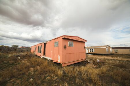 Abandoned mobile home or trailer home in a rural desert landscape near Fredonia, Arizona, USA.