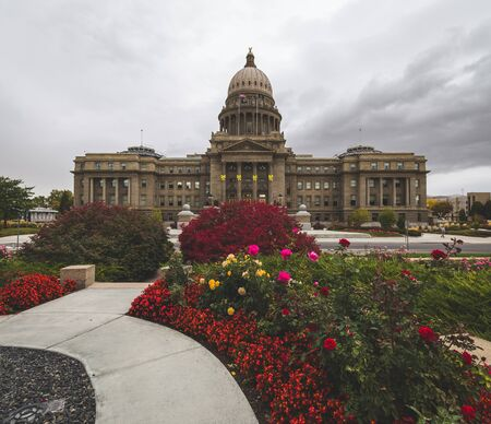 Flowers bloom in front of the Idaho State Capitol Building in Boise, Idaho, USA. Editorial