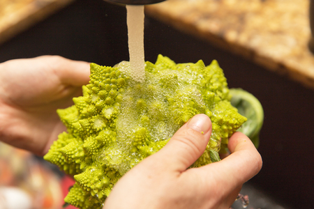 Person rinsing Romanesco broccoli under a kitchen sink faucet.
