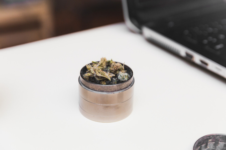 Steel grinder with green cannabis flower (buds) inside. Laptop in background. Banco de Imagens