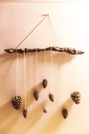 Pine cones hang on strings wrapped around a stick and hung on a wall.