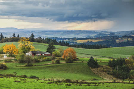 Beautiful farm land landscape in rural wine country. Rolling green hills with farms, vineyards, and trees as seen on a stormy day.