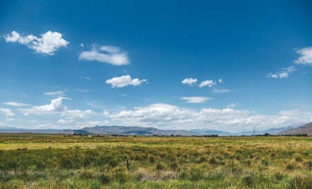 Wide-open summer landscape with mountains in distance. Sunny day in vast area of farmland and mountains in the western United States. Captured in Montana, USA. Zdjęcie Seryjne
