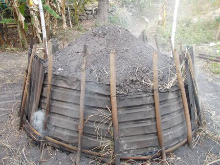 charcoal: charcoal making Stock Photo