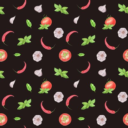 Watercolor vegetable seamless pattern on brown background. Garlic, basil leaf, tomato, chili pepper. hand painted illustration. Print  for design textile, cloth, wrapping paper