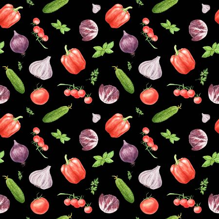 Watercolor vegetable seamless pattern on black background. Garlic, basil leaf, bell pepper, cucumber, cherry tomato, arugula. hand painted illustration. Print for design textile, cloth, wrapping paper Zdjęcie Seryjne