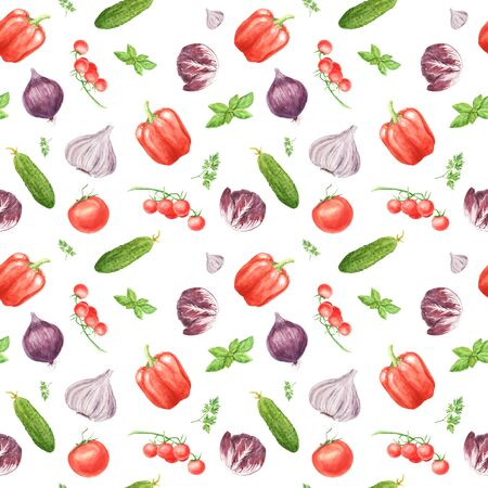 Watercolor vegetable seamless pattern on white background. Garlic, basil leaf, bell pepper, cucumber, cherry tomato, arugula. hand painted illustration. Print for design textile, cloth, wrapping paper