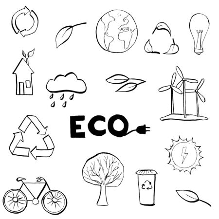 Ecology symbols set. Modern linear black and white hand drawn style vector concept. Illustration for eco friendly, energy, environment, green, recycle, bio and global concepts.