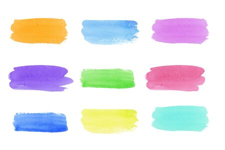 Hand painted abstract Watercolor neon trendy color set brush strokes isolated on white background. multicolor abstract painting, design for invitation, greeting card, wedding. empty space for text