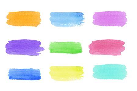 Pintado a mano abstracto acuarela neón color de moda establece trazos de pincel aislados sobre fondo blanco. pintura abstracta multicolor, diseño de invitación, tarjeta de felicitación, boda. espacio vacío para texto