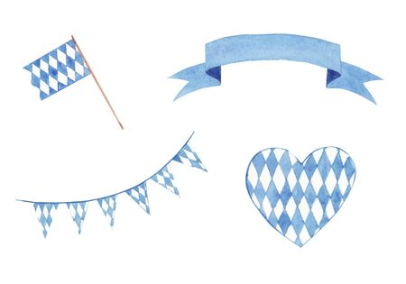 Hand drawn Watercolor traditional Oktoberfest flag, ribbon and banner set isolated on white background. Design element for festival, shop, market, menu, cafe, restaurant, poster, banner, sticker.