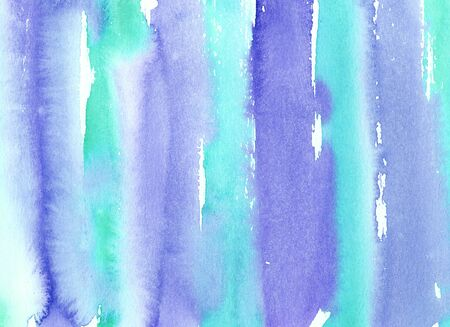 Hand painted abstract Watercolor Wet turquoise and blue stripped Background with stains. Watercolor wash. Abstract painting. design for invitation, greeting card, wedding. empty space for text Standard-Bild - 129202506