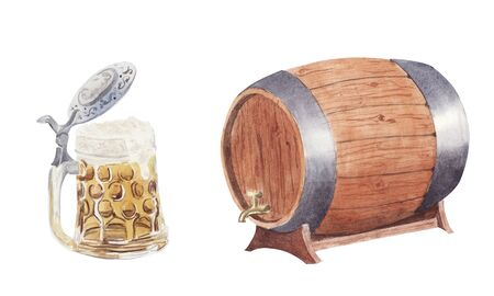 Hand painted watercolor set with mug and barrel of beer isolated on white background. Oktoberfest Design element for festival, shop, market, menu, cafe, restaurant, poster, banner and sticker. Zdjęcie Seryjne
